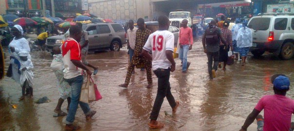 Flooded area in Ogun community