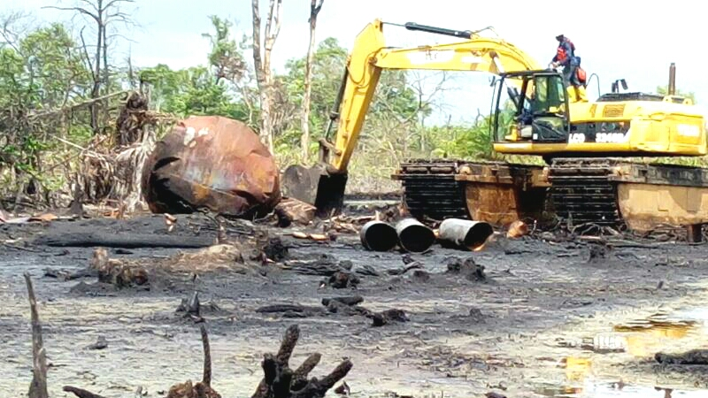Destroyed illegal refinery
