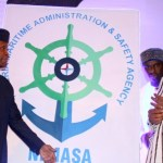 Vice President Yemi Osinbajo Unveiling the new NIMASA logo while, Speaker, House of Representative, Hon. Yakubu Dogara, Minister of Transportation, Rt. Hon. Rotimi Amaechi, and The Director General, NIMASA, Dr. Dakuku Peterside looks on.
