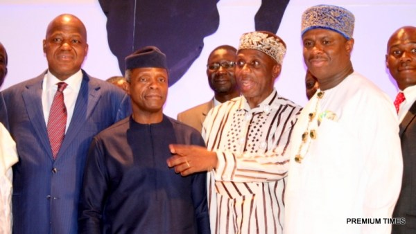 From left: Speaker, House of Representative, Hon. Yakubu Dogara, Vice President Yemi Osinbajo, Minister of Transportation, Rt. Hon. Rotimi Amaechi, The Director General, NIMASA, Dr. Dakuku Peterside during the 3rd Conference of African Heads of Maritime Administration AAMA holding in Abuja.