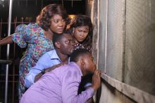 Mercy Johnson, Uche Jombo and Francis Odega in a scene in the movie