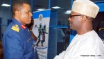 Chief of the Air Staff, Air Chief Marshal Sadique Abubakar (L) welcoming the Chairman, Independent National Electoral Commission (INEC), Prof. Mahmood Yakubu, during the visit of the INEC Chairman to Nigerian Airforce Headquaters in Abuja on Thursday (27/4/17). 02323/27/4/2017/Hogan-Bassey/ICE/NAN