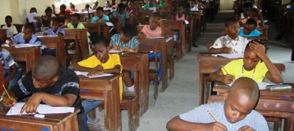 FILE PHOTO: Nigerian pupils writing National Common Entrance examination used to illustrate homeschooling {Photo: NAN}