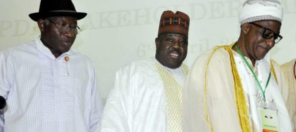 From left:  Former President Goodluck Jonathan, PDP National Chairman,  Ali Modu Sheriff and Chairman Board of Trustees, Alhaji Wali Jubril at a PDP Stakeholders meeting in  Abuja on Thursday (6/4/17)02099/6/4/2017/Albert Otu/ICE/NAN