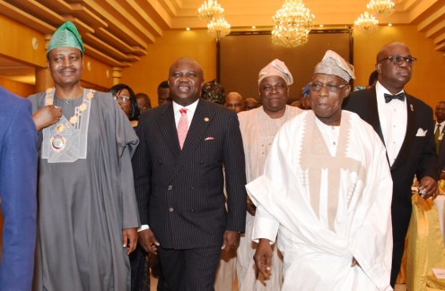 Lagos State Governor, Mr. Akinwunmi Ambode (2nd left); President, Institute of Chartered Accountants of Nigeria (ICAN), Deacon Titus Soetan (left); Chief Idowu Akanle (middle); former President, Chief Olusegun Obasanjo (2nd right) and Registrar/Chief Executive, ICAN, Mr. Rotimi Omotosho (right) during the ICAN 2017 Annual Dinner and Awards at the Oriental Hotel, Lekki-Epe Expressway, Lagos, on Friday, April 29, 2017.