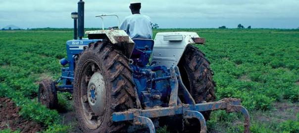 A farmer using the tractor on his farm