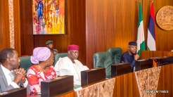 Acting President Yemi Osinbajo, SAN; Chief of Staff Abba Kyari; Head of Civil Service; Mrs. Winifred Oyo-Ita; NSA, Maj. Gen. Babagana Mungonu during the Federal Executive Council Meeting held at the Council Chamber of the State House in Abuja. 26th April 2017. Photo by: Novo Isioro