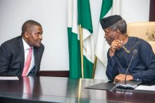 Acting President Yemi Osinbajo, SAN, with Alhaji Aliko Dangote during the Inauguration of the Nigeria Industrial Policy and Competitiveness Advisory Council, State House, 30th May 2017. Photo: Novo Isioro.