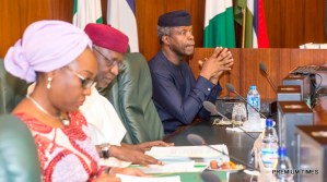 Acting President Yemi Osinbajo; Chief of Staff Abba Kyari; Head of Civil Service; Mrs. Winifred Oyo-Ita during the Federal Executive Council Meeting held at the Council Chamber of the State House in Abuja. 26th April 2017. Photo by: Novo Isioro