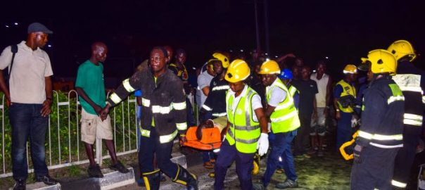Men of Lagos State Emergency Management Agency (LASEMA) on a rescue mission at an accident scene at 7up adjacent motorways bus stop, Outward Lagos-Ibadan Expressway in the early hours of Tuesday, May 23, 2017.