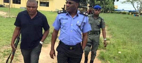 Lagos State Police Commissioner, Fatai Owoseni at the Lagos State Model College, Igbonla where students were kidnapped