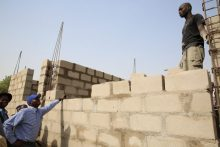 Minister of Works, Power & Housing, Mr. Babatunde Fashola Fashola inspecting ongoing building project
