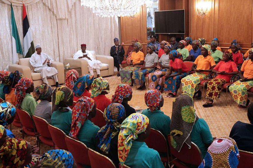 Freed Chibok girls Meeting with President Muhammadu Buhari
