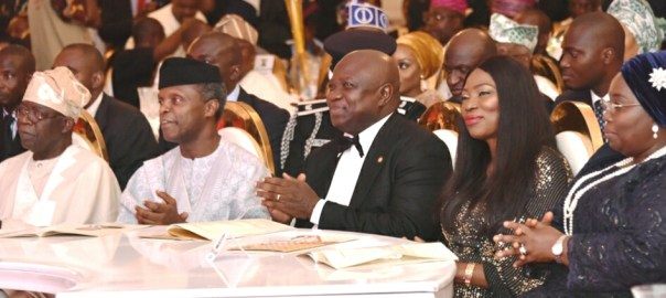 Lagos State Governor, Mr. Akinwunmi Ambode (3rd right); his wife, Bolanle (2nd right); Deputy Governor, Dr. (Mrs) Oluranti Adebule (3rd left); former Deputy Governors of Lagos State, Otunba Femi Pedro (2nd left); Mrs. Kofoworola Bucknor-Akerele (left) and Mrs. Adejoke Orelope-Adefulire (right) during the Lagos @ 50 Gala Night at the Lagos House, Ikeja, on Saturday, May 27, 2017.