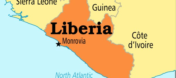 Liberia on map