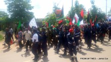 MASSOB BIM members on procession along Abakaliki-Enugu road, Ebonyi state yesterday