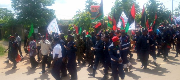 MASSOB BIM members on procession along Abakaliki-Enugu road, Ebonyi state yesterday