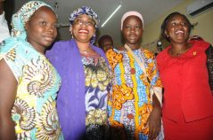 Pic.3. Minister of Women Affairs and Social Development, Sen. Aisha Al-Hassan (2nd, L); Director of Medical Services, Department of State Security Service (DSS), Dr Ann Okoroafor (R) and two of the 82 Chibok schoolgirls recently freed from the Boko Haram terrorists during the symbolic hand-over of the girls from DSS to the Ministry, in Abuja on Tuesday (30/5/17). The Ministry is to immediately commence a comprehensive process of the girls' rehabilitation. 02911/30/5/2017/Anthony Alabi/BJO/NAN