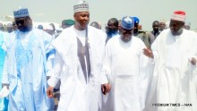 FROM LEFT: Gov. Abubakar Bello of Niger; Senate President bukola Saraki; Gov. Abdulaziz Yari of Zamfara; and Gov. Abdullahi Ganduje of Kano State, at the Minna Airport, for the wedding of Halima Babangida, second daughter and last child of Gen. Ibrahim Babangida's family, to Alhaji Auwal Abdullahi, a businessman who holds the traditional title of Sarkin Sudan Gombe, on Friday (11/5/17).  02612/12/5/2017/Ismail Abdulaziz/BJO/NAN
