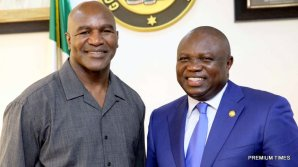 Lagos State Governor, Mr. Akinwunmi Ambode (right), with the former Heavyweight Boxing Champion, Evander Holyfield during the courtesy visit by the former heavyweight boxing champion at the Lagos House, Ikeja, on Wednesday, May 24, 2017.