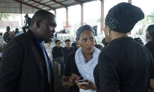 Fathia Balogun in company of other sympathizers during Moji Olaiya's service of songs