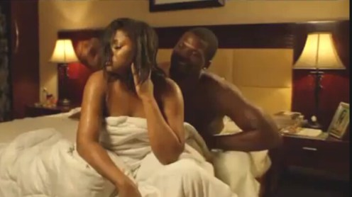 Omotola acting a sex scene in the movie Alter Ego