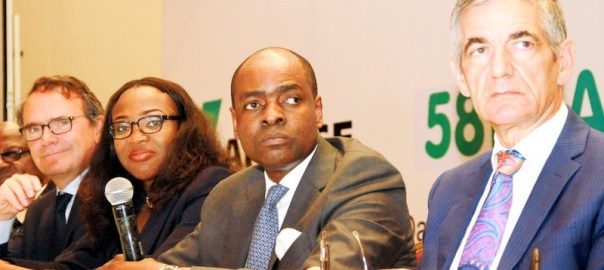 R-L: Michel Puchercos, CEO Lafarge Africa Plc; Mobolaji Balogun, Chairman; Uzoma Uja, Company Secretary and Guillame Roux, Vice Chairman, at the 58th annual general meeting of Lafarge Africa in Lagos