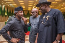 Acting President Yemi Osinbajo with Governors after the consultation meeting