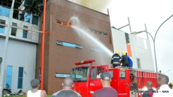 Fire fighters struggling to quench the fire that gutted the House on the Rock Church building at Airport Road in Abuja on Sunday (25/6/17). 03532/25/6/2017/Hogan Bassey/NAN