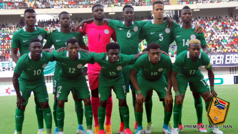 The Super Eagles squad for the 2019 AFCON qualifying match against Bafana Bafana of South Africa, in Uyo on Saturday (10/6/17). Bafana Bafana won 2-0. 03147/10/6/2017/Chidi Ohalete/BJO/NAN