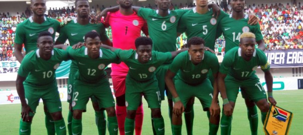 The Super Eagles squad for the 2019 AFCON qualifying match against Bafana Bafana of South Africa, in Uyo on Saturday (10/6/17). Bafana Bafana won 2-0.03147/10/6/2017/Chidi Ohalete/BJO/NAN