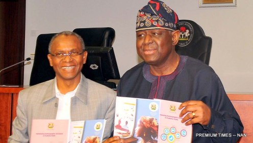 A file photo shows: Executive Director, United Nations Population Fund (UNFPA), Prof. Babantude Osotimehin (R) with Gov. Nasir El-Rufai of Kaduna State, during Osotimehin's visit to Government House in Kaduna on Tuesday (10/1/17). 03029/5/6/2017/ Slueiman Shuaibu /BJO/NAN