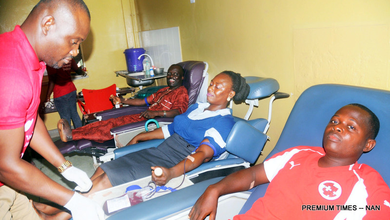 Pic.23. Donors being prepared for the exercise the 2017 World Blood Donors Day at the University College Hospital Ibadan on Wednesday (14/6/17). 03240/14/6/2017/Esther Bode-Are/BJO/NAN