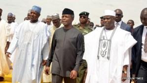 Acting President, Yemi Osinbajo with Sokoto state governor, Aminu Tambuwal and Kebbi state governor, Abubakar Bagudu