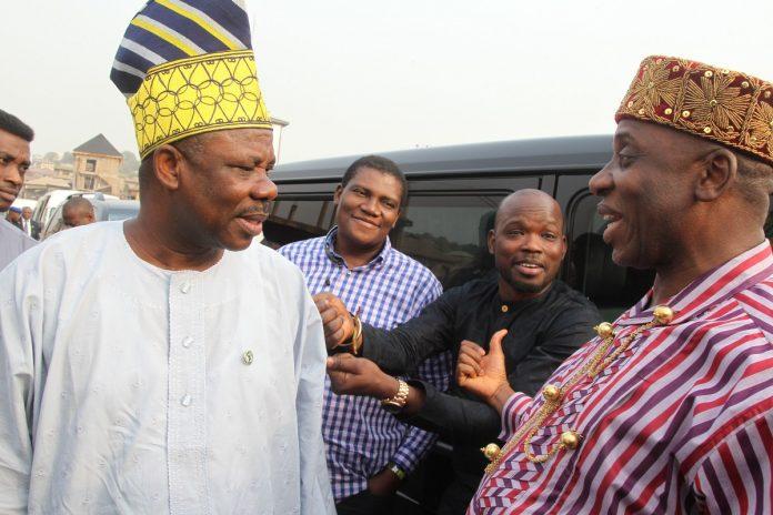 Minister of Transportation, Rotimi Amaechi with Ogun State Governor, Ibikunle Amosun