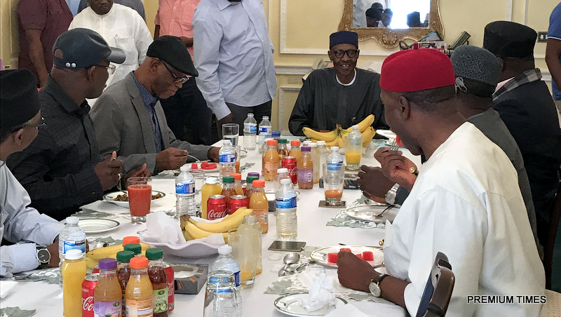 President Buhari with the APC leaders in the British capital