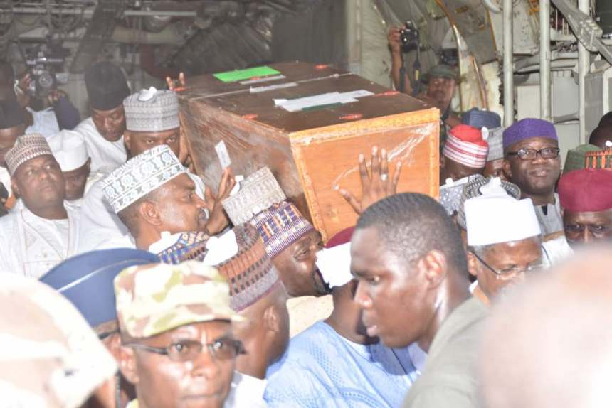 Remains of Mataima Sule being conveyed