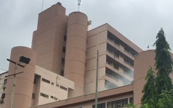 The Federal Secretariat on fire earlier today