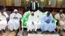 Olusegun Obasanjo with Niger and Adamawa governors condoling Kano State Governor, Abdullahi Ganduje over Mataima Sule's death