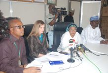 From left: Mr. Niyi Ekisola, Deputy Director, Primary Health Care System Development Agency, Linda Ehrichs, High Commission of Canada, Hajia Aisha Lami Abubakar, Director, Admin & human resources, representing the Chief Executive, NPHCDA, Dr. Faisal Shuaib and Dr. Ahmad Abdulwahab, Country Deputy Director, Clinton Access Health Initiative-CHAI at the public presentation of PHC intervention on diarrhea in some States of the Federation.