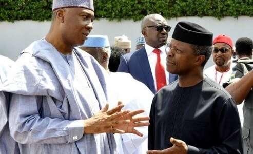 Senate President Bukola Saraki (L) and Ag President Yemi Osinbajo