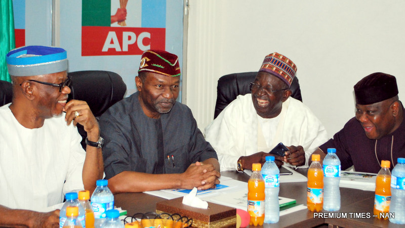 FROM LEFT: Chairman of APC, Chief John Odigie-Oyegun; Minister of Budget and National Planning; Sen Udoma Udo Udoma;  Deputy National Chairman of APC, North, Sen. Lawali Shuaibu; National Organising Secretary,  Sen. Osita Izunaso,  during the presentation of a Three Year Growth Economic Plan to the party's National Working Committee  by the Minister of Budget and National Planning  in Abuja on Wednesday (5/7/17). 03356/5/7/2017/Hogan Bassey/JAU/NAN