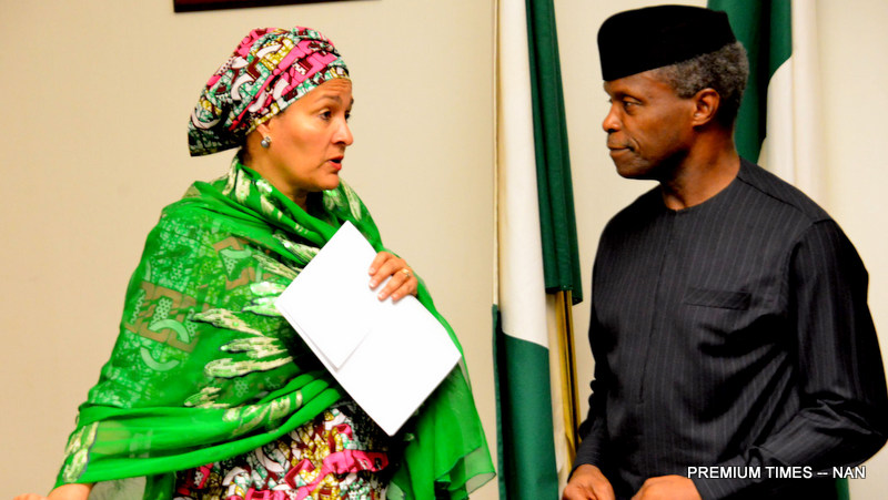 Acting President Yemi Osinbajo (r) with the United Nations Deputy Secretary -General, Hajiya Amina Muhammed   during the United Nations Delegation Meeting with the Acting President at the Presidential in Abuja on Wednesday (19/7/17).  03642 /19/7/20117/Sumaila Ejiga/ICE/NAN