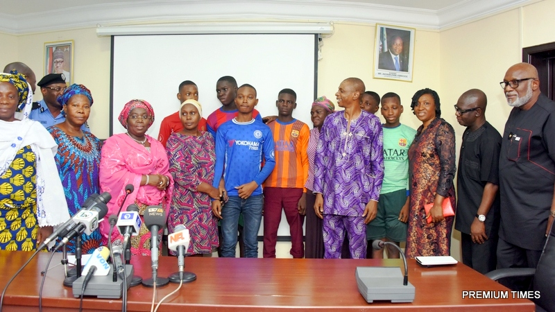 Lagos State Deputy Governor, Dr. (Mrs) Oluranti Adebule (3rd left); Ondo State Governor, Mr. Rotimi Akeredolu (right); his Deputy, Mr. Alfred Agboola (2nd right) with the released Igbonla Model College students and their parents during a media briefing at the Round House, the Secretariat, Alausa, Ikeja on Friday, July 28, 2017.