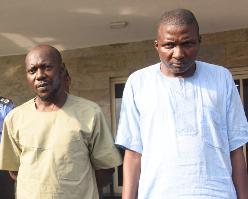 Alleged suspects, Baale of Shangisha, Chief Yusuf Ogundare (right), with his brother and accomplice, Mohammed Adams (left), being paraded during a press briefing at the Lagos House, Ikeja, on Thursday, July 13, 2017.