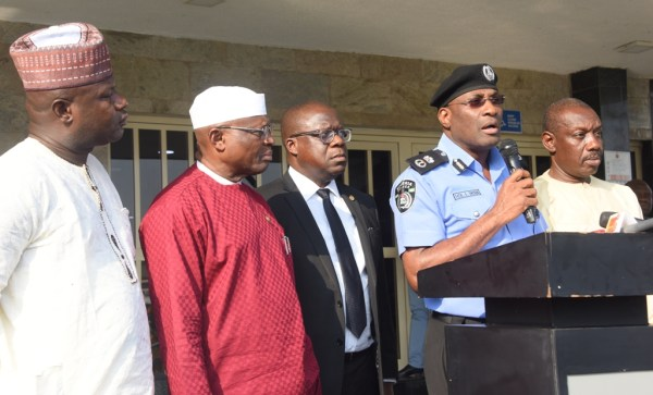 R-L: Lagos State Commissioner of Police, Mr. Fatai Owoseni (2nd right), addressing journalists on the Alleged Fake Kidnap of Baale of Shangisha in Magodo, Chief Yusuf Ogundare at the Lagos House, Ikeja, on Thursday, July 13, 2017. With him are Attorney General & Commissioner for Justice, Mr. Adeniji Kazeem (middle); his counterpart for Local Government & Community Affairs, Alhaji Muslim Folami (2nd left); Operative of DSS, Mr. Wale Odu (left) and representative of Director, DSS, Mr. Uche Okechukwu.