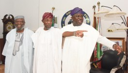 R-L: Lagos State Governor, Mr. Akinwunmi Ambode with his Osun State counterpart, Governor Rauf Aregbesola and Senator Olusola Adeyeye during Governor Ambode's courtesy visit to Osun State Government House, Osogbo, on Thursday, July 20, 2017.