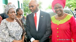 Widow of Prof. Osotinmehin, Mrs Olufunke; former Minister of State for Health, Permanent Secretary, Federal Ministry of Health, Dr Linus Awute; and Director of Drug Services, Federal Ministry of Health, Omate Chukwumah, at a tribute in honour of Prof. Osotinmehin organised by the Ministry of Health in Abuja on Friday (14/7/17).03545/14/7/2017/Johnson Udeani/ICE/NAN
