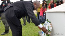 United Nations Resident Coordinator, Edward Kallon lays wreaths during a memorial programme by UN Systems for the late Executive Director of UNFA, Prof. Babatunde Osotimehin, in Abuja on Friday (14/7/17).  03530/14/7/17/Jones Bamidele/NAN