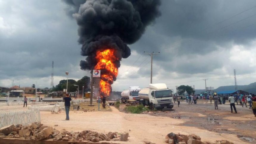 Petrol tanker accident  [Photo: Dailypost.ng]